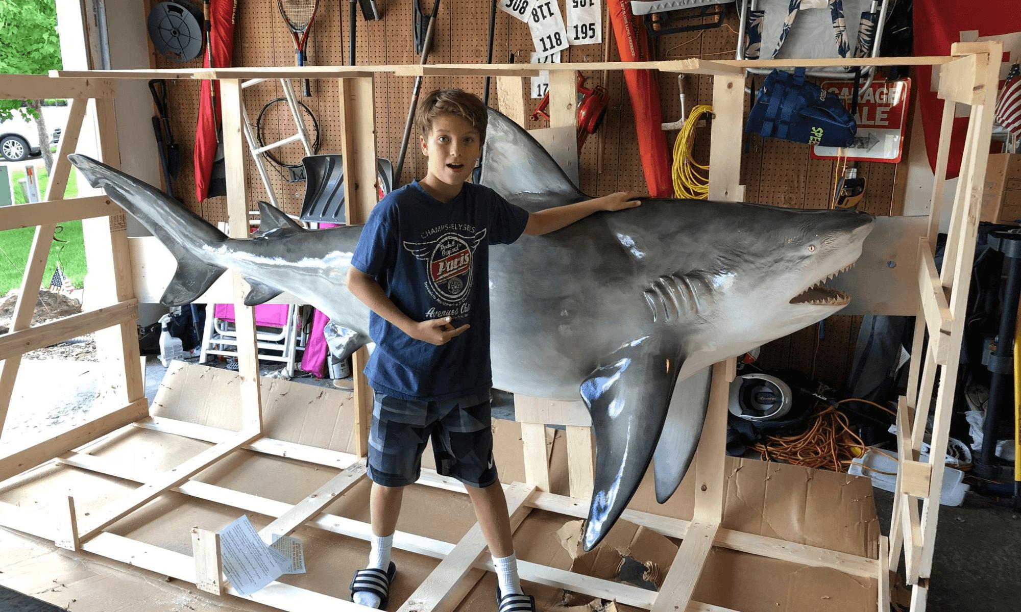 kids with shark